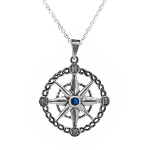 Outlander Inspired Compass Silver Pendant With Sapphire Colour Stone